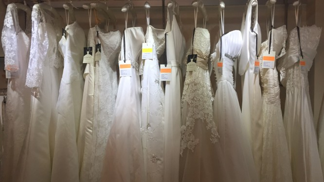 Sample sale bridal gowns